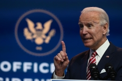 Joe Biden speaks during a press conference at The Queen in Wilmington, Delaware on Nov. 16, 2020. (Photo credit: ROBERTO SCHMIDT/AFP via Getty Images)