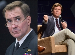 Featured are Pentagon spokesman John Kirby and Fox News host Tucker Carlson. (Photo credit: PAUL J. RICHARDS/AFP via Getty Images and Chelsea Guglielmino/Getty Images)