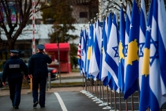 Kosovo and Israeli flags displayed during a ceremony at the headquarters of the foreign ministry in Pristina. (Photo by Armend Nimani/AFP via Getty Images)