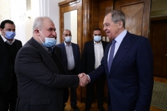 Russian Foreign Minister Sergei Lavrov meets with a Hezbollah delegation led by Mohammed Raad in Moscow on Monday. (Photo: Russian foreign ministry)