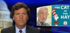 "Fox News host Tucker Carlson addresses the cancelling of Dr. Seuss on the March 2 ""Tucker Carlson Tonight."" (Photo credit: Fox News)"