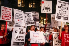 Teachers' union members go on strike. (Photo credit: KAMIL KRZACZYNSKI/AFP via Getty Images)