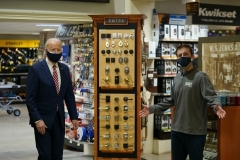 President Joe Biden visits W.S. Jenks & Son, a hardware store that has benefited from a Paycheck Protection Program loan, in Washington, DC, on March 9, 2021. (Photo by MANDEL NGAN/AFP via Getty Images)