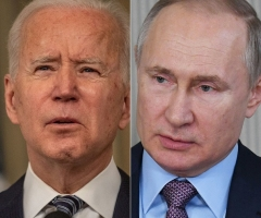 "President Joe Biden said he agrees with the assessment that his Russian counterpart Vladimir Putin is a ""killer."" (Photo by ERIC BARADAT, ALEXEY NIKOLSKY/Sputnik/AFP via Getty Images)"