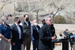 House Minority Leader Kevin McCarthy addresses the press during a congressional visit to the border community of El Paso, Texas on March 15, 2021. (Photo by JUSTIN HAMEL/AFP via Getty Images)