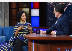 Rep. Ilhan Omar on The Late Show With Stephen Colbert, April 10, 2019. (Photo by Scott Kowalchyk/CBS via Getty Images)