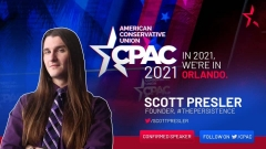 The openly gay Scott Presler, who spoke at CPAC and received the Ronald Reagan Award. (Screenshot, CPAC)