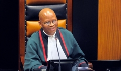 South African Chief Justice Mogoeng Mogoeng speaks during a session of parliament in Cape Town. (Photo by Rodger Bosch/AFP via Getty Images)