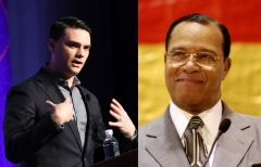 "Ben Shapiro questioned whether congressional Democrats would be asked about rubbing elbows with Nation of Islam leader Louis Farrakhan on Monday's ""The Ben Shapiro Show."" (Photo credit: MARK RALSTON/AFP via Getty Images and Malcolm Ali/WireImage)"