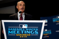 Major League Baseball Commissioner Rob Manfred speaks during the 2019 Major League Baseball Winter Meetings on December 10, 2019 in San Diego, California. (Photo by Billie Weiss/Boston Red Sox/Getty Images)