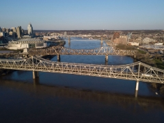 The Brent Spence Bridge spans the Ohio River on the Ohio-Kentucky border in Cincinnati, Ohio on April 2, 2021. (Photo by JEFF DEAN/AFP via Getty Images)