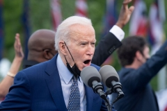 President Joe Biden speaks during a drive-in rally at Infinite Energy Center April 29, 2021, in Duluth, Georgia. (Photo by BRENDAN SMIALOWSKI/AFP via Getty Images)
