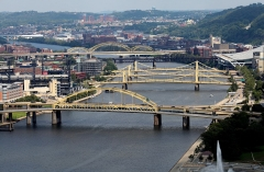 View of Fort Duquesne Bridge, Roberto Clemente Bridge, Andy Warhol Bridge, Rachel Carson Bridge and 16th Street Bridge over the Allegheny River as photographed from Mount Washington in Pittsburgh, Pennsylvania on August 25, 2016. (Photo By Raymond Boyd/Getty Images)