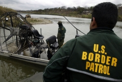 Eagle Pass Border Patrol use hover boats to patrol the Rio Grande U.S Mexico border, February 05, 2003. (Photo by Shaul Schwarz/ Getty Images)
