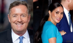 Featured are pundit Piers Morgan and Duchess of Sussex Meghan Markle. (Photo credit: D Dipasupil/Getty Images for Extra and Meghan Markle and Max Mumby/Indigo/Getty Images)