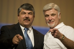 President of the United Mine Workers (UMWA) of America Cecil Edward Roberts (R) stands with AFL-CIO Secretary-Treasurer Richard Trumka (L) during the AFL-CIO Convention. (Photo credit: JIM WATSON/AFP via Getty Images)