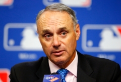 Commissioner of Baseball Robert D. Manfred Jr. speaks at a press conference on youth initiatives hosted by Major League Baseball and the Major League Baseball Players Association. (Photo credit: Jim McIsaac/Getty Images)