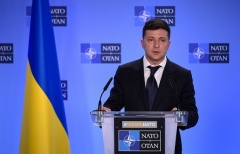 Ukrainian President Volodymyr Zelensky at NATO headquarters n Brussels. (Photo by John Thys/AFP via Getty Images)