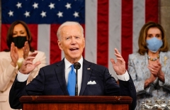 President Joe Biden addresses a joint session of Congress on April 28, 2021. (Photo by MELINA MARA/POOL/AFP via Getty Images)