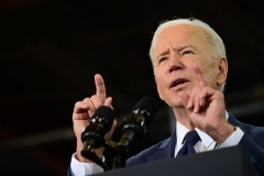 """President Joe Biden outlines his American jobs/""""infrastructure"""" plan in Pittsburgh, Pennsylvania, on March 31, 2021. (Photo by JIM WATSON/AFP via Getty Images)"""