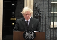 Prime Minister Boris Johnson delivering his statement on the death of Prince Philip.(Screen Capture)