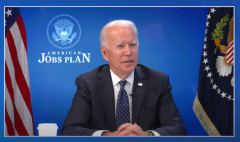 President Joe Biden participates in a virtual tour of the Proterra electric battery facility in Greenville, S.C. on April 20, 2021. (Photo: Screen capture)