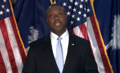 Sen. Tim Scott (R-S.C.) gives the Republican response to President Joe Biden's speech to a joint session of Congress on April 28, 2021. (Photo: Screen capture)