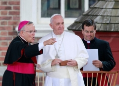 Archbishop Charles Chaput with Pope Francis at Independence Hall in Philadelphia, Sept. 26, 2015. (David Swanson/Philadelphia Inquirer/Tribune News Service via Getty Images)
