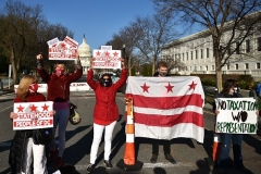 Activists rally in support of DC statehood near the US Capitol on March 22, 2021. (Photo by MANDEL NGAN/AFP via Getty Images)