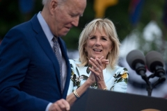 First Lady Jill Biden introduced her husband Joe Biden at a drive-in rally in Duluth, Georgia on April 29, 2021. (Photo by BRENDAN SMIALOWSKI/AFP via Getty Images)