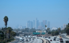 Smog over the Los Angeles skyline. (Photo by FREDERIC J. BROWN/AFP via Getty Images)