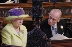 Queen Elizabeth II and Prince Philip at the wedding of Prince Harry and Meghan Markle, at St. George's Chapel, Windsor Castle, May 19, 2018. (Photo by Jonathan Brady/Pool/AFP via Getty Images)