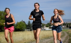 "June Eastwood, center, a transgender ""female"" (biological male) track athlete. (Getty Images)"