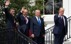 President Trump with the Israeli PM, UAE Foreign Minister, and Bahraini Foreign Minister at the White House last September after signing historic accords. (Photo by Saul Loeb/AFP via Getty Images)