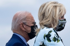 President Biden and First Lady Jill Biden at Joint Base Andrews, Maryland on April 29, two days after he announced the new CDC guidance on mask wearing outdoors for vaccinated Americans. (Photo by Brendan Smialowski/AFP via Getty Images)