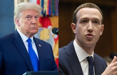 Featured are 45th President Donald Trump and Facebook CEO Mark Zuckerberg. (Photo credit: SAUL LOEB/AFP via Getty Images)