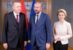 Turkish President Recep Tayyip Erdogan with E.U. leaders Charles Michel and Ursula von der Leyen. (Photo by Thierry Monasse/Getty Images)