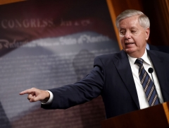 Senator Lindsey Graham (R-SC) speaks during a news conference as the Senate continues to debate the latest Covid-19 relief bill, at the US Capitol in Washington, DC on March 5, 2021. (Photo by OLIVIER DOULIERY/AFP via Getty Images)