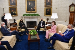 President Joe Biden (3rd R) and US Vice President Kamala Harris (L) meet with members of Congressional Leadership, including Senate Majority Leader Chuck Schumer (R), Speaker of the House Nancy Pelosi (2nd R) and Senate Minority Leader Mitch McConnell, to discuss policy areas of mutual agreement, in the Oval Office of the White House in Washington, DC, on May 12, 2021. (Photo by NICHOLAS KAMM/AFP via Getty Images)