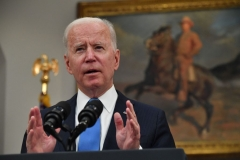 President Joe Biden speaks about the Colonial Pipeline cyber attack, in the Roosevelt Room of the White House in Washington, DC, on May 13, 2021. (Photo by NICHOLAS KAMM/AFP via Getty Images)