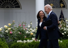 Vice President Kamala Harris and US President Joe Biden leave after the President delivered remarks on Covid-19 response and the vaccination program, from the Rose Garden of the White House, Washington, DC on May 13, 2021. (Photo by NICHOLAS KAMM/AFP via Getty Images)