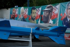 An Iranian-made ballistic missile on display at the Holy Defense Museum in Tehran. (Photo by Kaveh Kazemi/Getty Images)