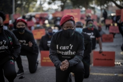 Economic Freedom Fighters (EFF) leader Julius Malema kneels in front of the United States (US) Embassy in Pretoria, on June 8, 2020. (Photo credit: MARCO LONGARI/AFP via Getty Images)