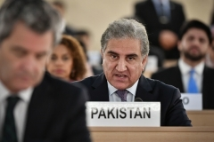 Pakistani Foreign Minister Shah Mehmood Qureshi addresses the U.N. Nations Human Rights Council in Geneva in 2019. (Photo by Fabrice Coffrini/AFP via Getty Images)