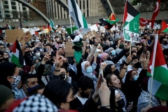 Some 5,000 pro-Palestinian protestors rallied in downtown Toronto on Saturday.  (Photo by Cole Burston/AFP via Getty Images)