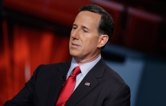 "Former Sen. Rick Santorum visits ""Cavuto: Coast To Coast"" at FOX Studios. (Photo credit: John Lamparski/Getty Images)"