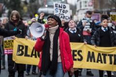 U.K. Black Lives Matter activist Sasha Johnson participates in a march. (Photo credit: Guy Smallman/Getty Images)