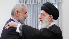 Iranian supreme leader Ayatollah Ali Khamenei and Hamas leader Ismail Haniyeh. (Photo by khamenei.ir/AFP via Getty Images)