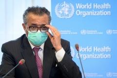 WHO Director-General Tedros Adhanom Ghebreyesus in Geneva on Monday. (Photo by Laurent Gillieron/Pool/AFP via Getty Images)