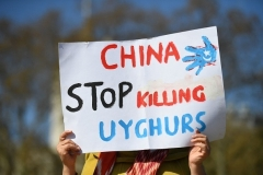 A pro-Uyghur demonstration in London. (Photo by Justin Tallis/AFP via Getty Images)